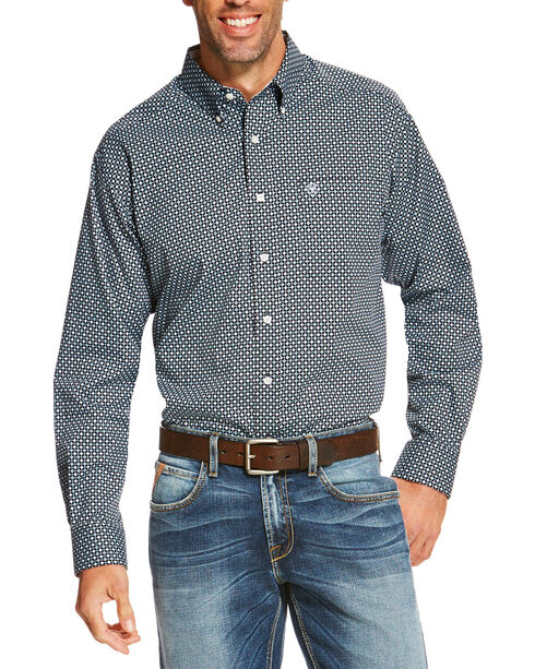 Ariat Men's Navy Ventana Diamond Print Western  Shirt , Navy, hi-res