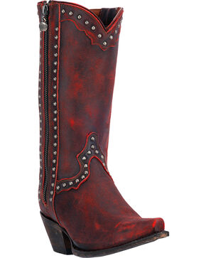 Dan Post Women's Distressed Studded Fashion Boots, Red, hi-res