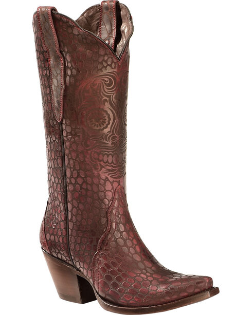 Ariat Women's Catrina Croc Print Western Boots, Red, hi-res