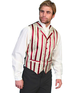 Rangewear by Scully Wallpaper Striped Vest, Burgundy, hi-res