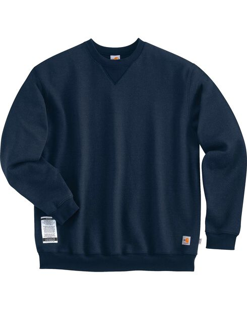 Carhartt Men's Flame-Resistant Heavyweight Sweatshirt, Navy, hi-res