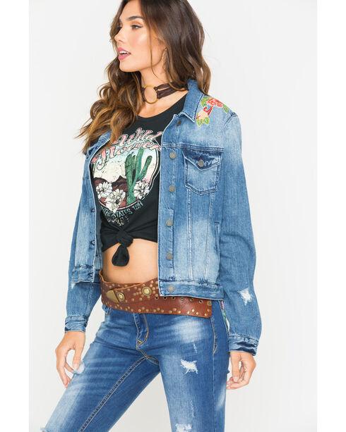 Miss Me Women's Indigo Sweet Essence Denim Jacket , Indigo, hi-res