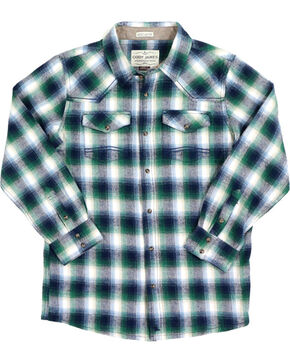 Cody James® Boys' Plaid Long Sleeve Flannel, Green, hi-res