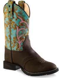 Old West Girls' Distressed Turquoise Western Boots - Round Toe, , hi-res