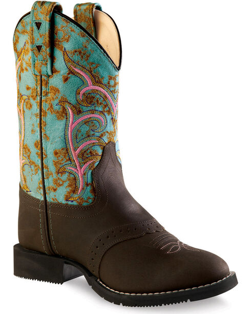 Old West Girls' Distressed Turquoise Western Boots - Round Toe, Distressed, hi-res