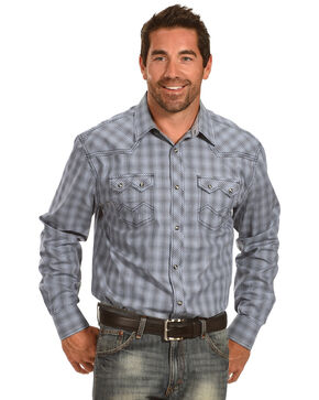 Moonshine Spirit Men's Grid Plaid Long Sleeve Snap Shirt, Blue, hi-res