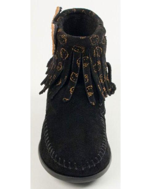 Minnetonka Girls' Hello Kitty Fringe Boots - Moc Toe, Black, hi-res