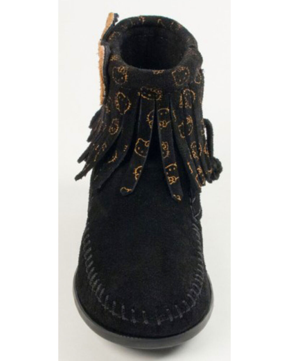 Minnetonka Girls' Hello Kitty Fringe Boots - Moc Toe, Black, hi-res