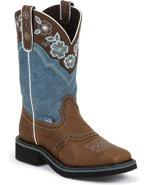 Justin Women's Floral Embroidered Western Boots, Aged Bark, hi-res
