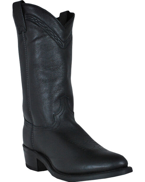 Abilene Boots Men's Black Waxed Cowhide Western Boots - Medium Toe, Black, hi-res