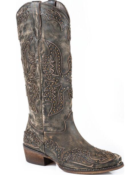 Roper Women's Dakota Studded Eagle Overlay Western Boots, , hi-res