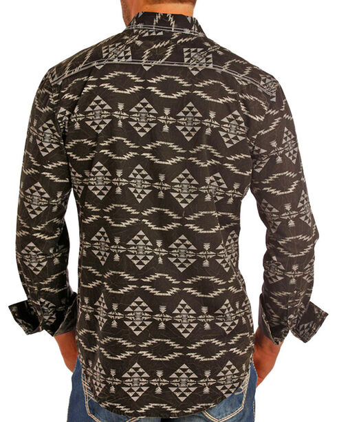 Rock and Roll Cowboy Men's Aztec Long Sleeve Shirt, Black, hi-res