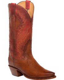 Lucchese Women's Tan Everly Ring Lizard Western Boots - Snip Toe, , hi-res