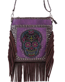 Savana Women's Fringe Trimmed Sugar Skull Crossbody Bag, , hi-res
