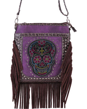Savana Women's Fringe Trimmed Sugar Skull Crossbody Bag, Purple, hi-res