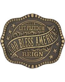 Montana Silversmiths Men's Brass God Bless America Belt Buckle , , hi-res