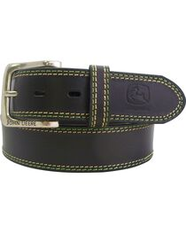John Deere Brown Buffalo Leather Belt, , hi-res