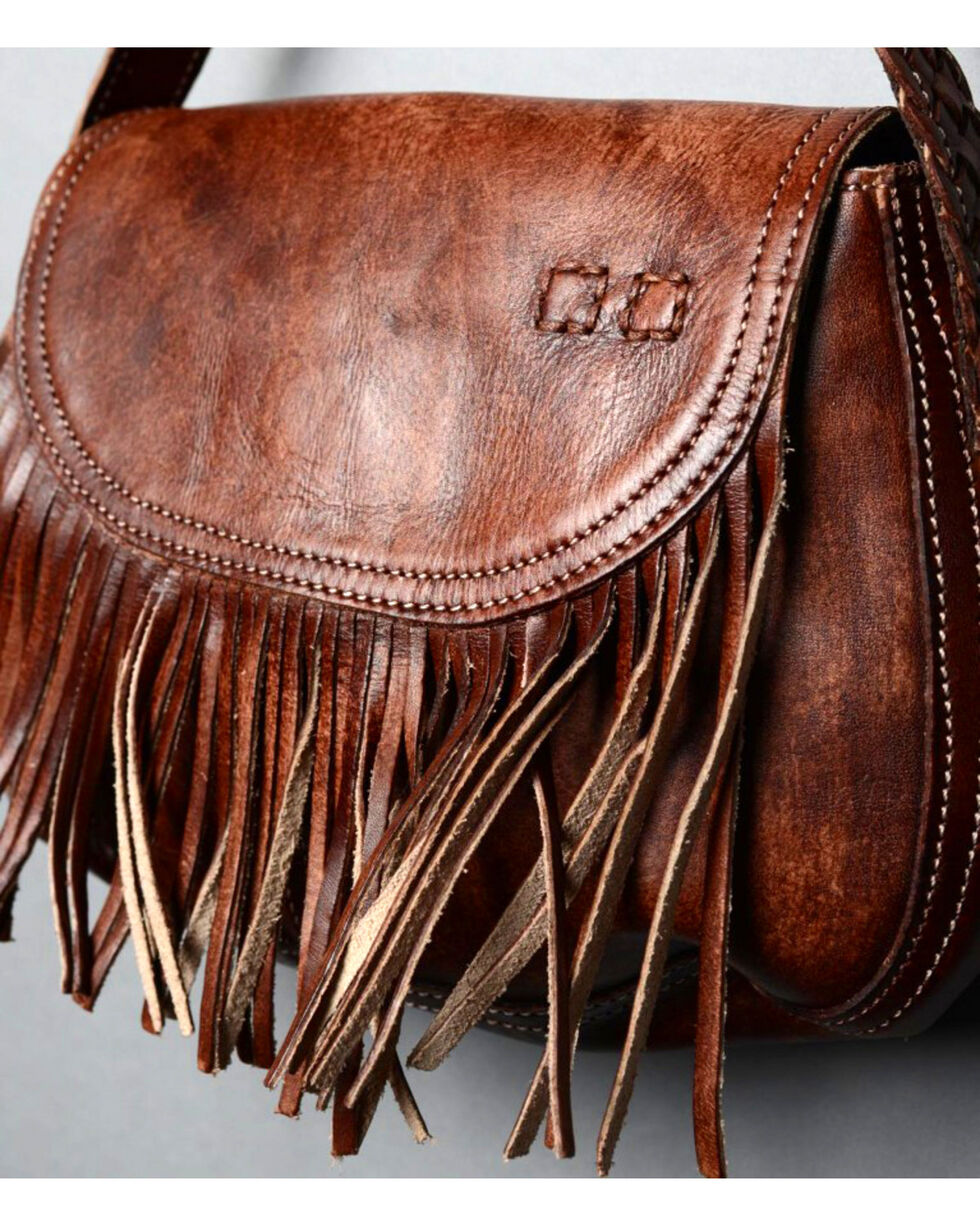 Bed Stu Women's Eastend Teak Driftwood Fringe Shoulder Bag, Beige/khaki, hi-res