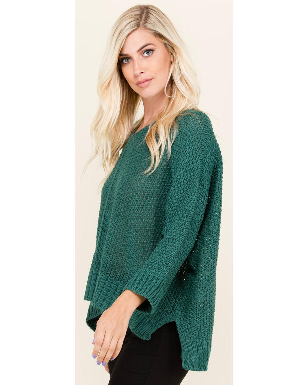 Polagram Women's 3/4 Sleeve Scoop Neck Sweater , Teal, hi-res