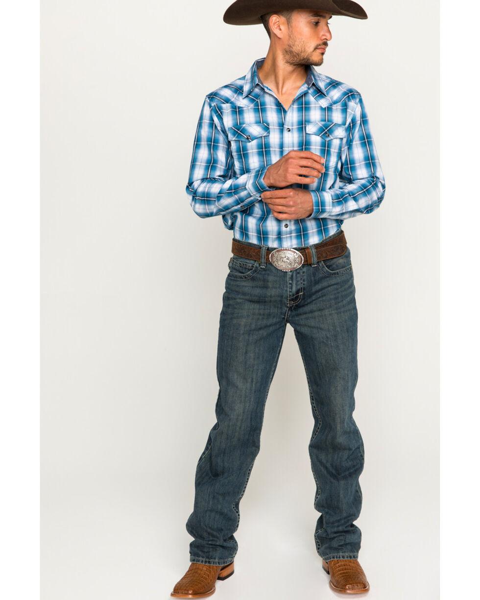 Cody James Men's Blue Plaid Long Sleeve Western Snap Shirt, Blue, hi-res