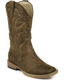 Roper Youth Boys' Distressed Faux Leather Cowboy Boots - Square Toe, , hi-res