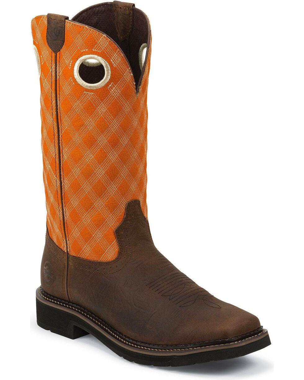 Justin Men's Stampede Pull-On Work Boots, Brown, hi-res