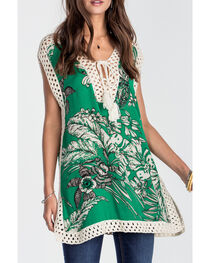 Miss Me Women's Green Tropic Escape Top , , hi-res