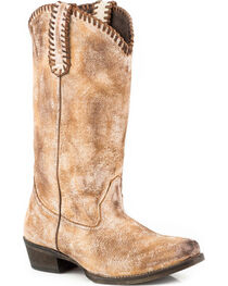 Roper Women's Whip It Whipstitch Distressed Leather Cowgirl Boots - Snip Toe, , hi-res