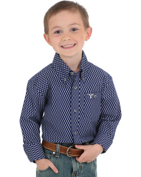 Wrangler Boys' Navy 20X Advanced Comfort Western Shirt , Navy, hi-res
