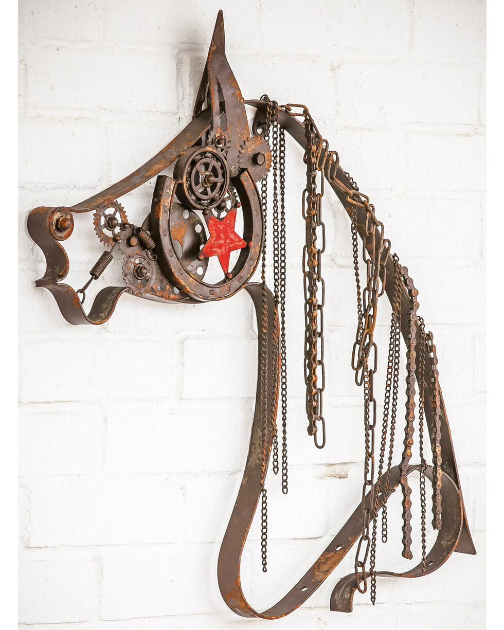Evergreen Home Rustic Metal Horse Chain Mane Wall Decor , Brown, hi-res