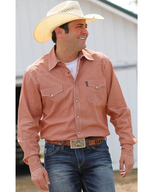 Cinch Men's Printed Western Long Sleeve Shirt, Brown, hi-res