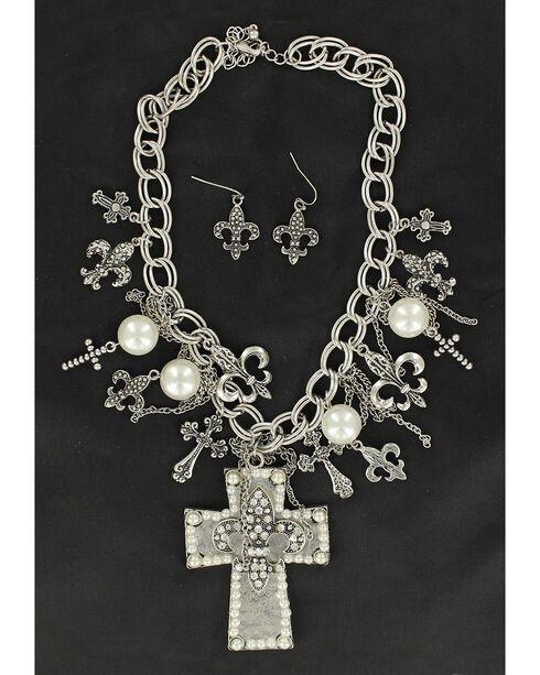 Blazin Roxx Cross & Fleur-de-lis Charms Cross Pendant Necklace & Earrings Set, Silver, hi-res