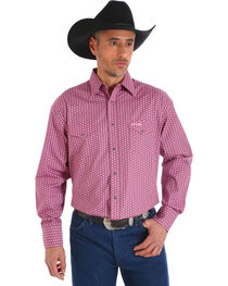 Wrangler Men's Tough Enough To Wear Pink Plaid Long Sleeve Shirt, Pink, hi-res