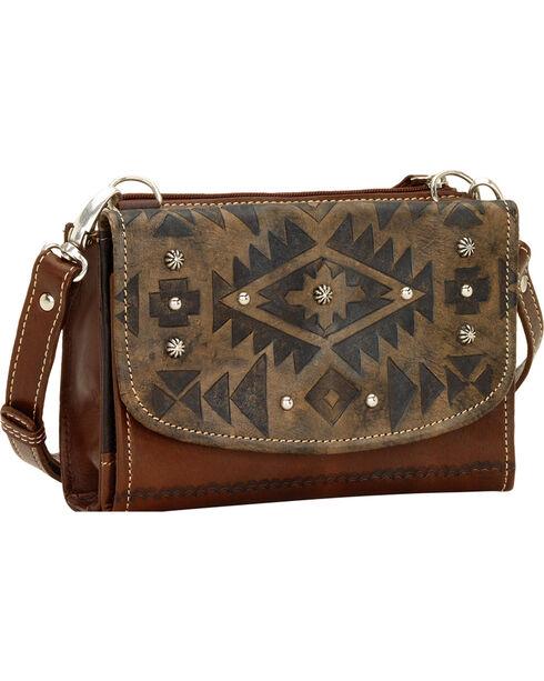 American West Leather Mystic Shadow Combination Crossbody, Dark Brown, hi-res