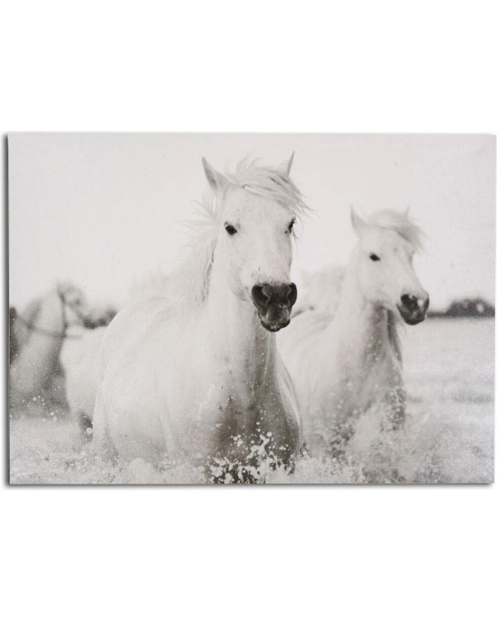 BB Ranch White Horses Wall Canvas, No Color, hi-res