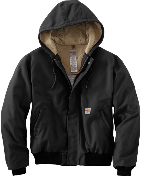 Carhartt Flame-Resistant Duck Active Hooded Jacket, Black, hi-res