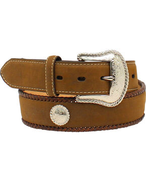 Nocona Men's Hired Hand Work Leather Belt, Med Brown, hi-res