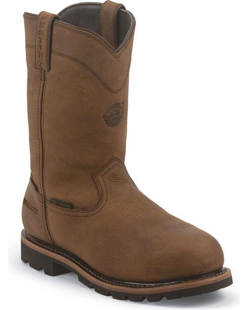 Justin Men's Braman Waterproof Work Boots, Brown, hi-res