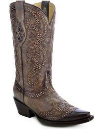 Corral Women's Distressed Studded Overlay Western Boots, , hi-res