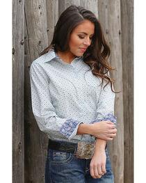 Cinch Women's Printed Plain Weave Long Sleeve Button Down Shirt, , hi-res