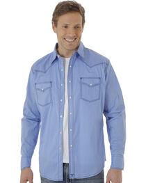 Wrangler 20X Men's Blue Poplin Print Snap Western Shirt, , hi-res