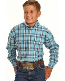Panhandle Boys' Poplin Satin Plaid Shirt , , hi-res