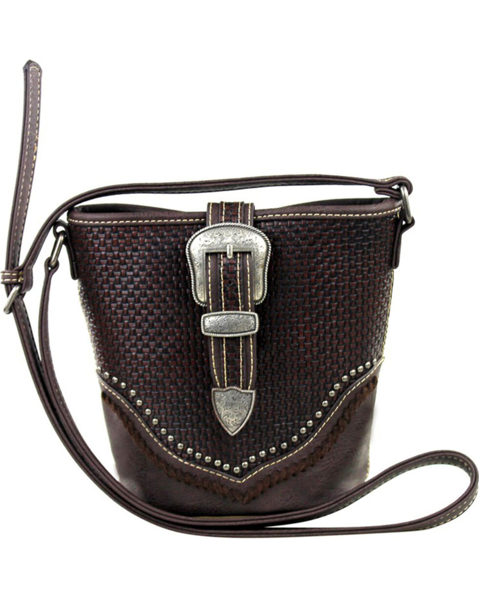 Montana West Trinity Ranch Basket Weave Buckle Design Handbag, , hi-res