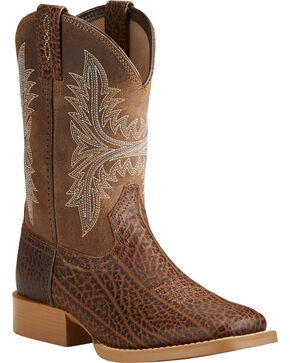 Ariat Boys' Cowhand Cowboy Boots - Square Toe, Tan, hi-res