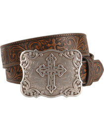 Nocona Women's Leather Tooled Western Belt, , hi-res