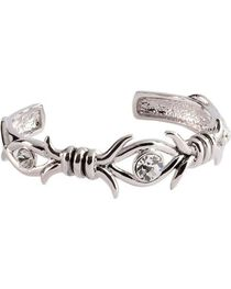 Montana Silversmiths Women's Barbed Wire and Crystal Cuff Bracelet, , hi-res