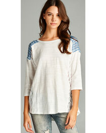 Hyku Women's White Plaid Yoke 3/4 Sleeve Top, , hi-res