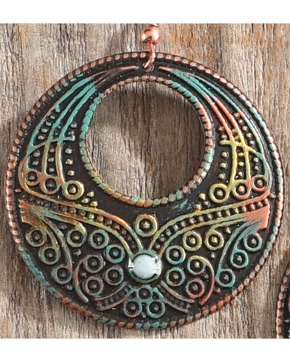 Shyanne Women's Painted Patina Circular Small Stone Earrings, Rust Copper, hi-res