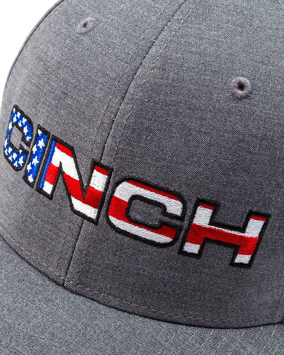 Cinch Men's American Flag Embroidery Logo Flexfit Cap, Heather Grey, hi-res