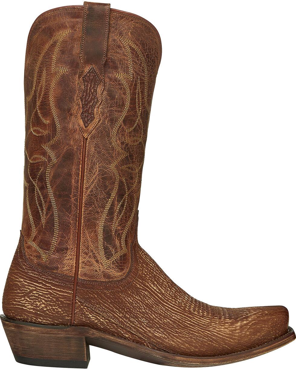 Lucchese Handmade Cognac Carl Sharkskin Cowboy Boots - Narrow Square Toe , Cognac, hi-res